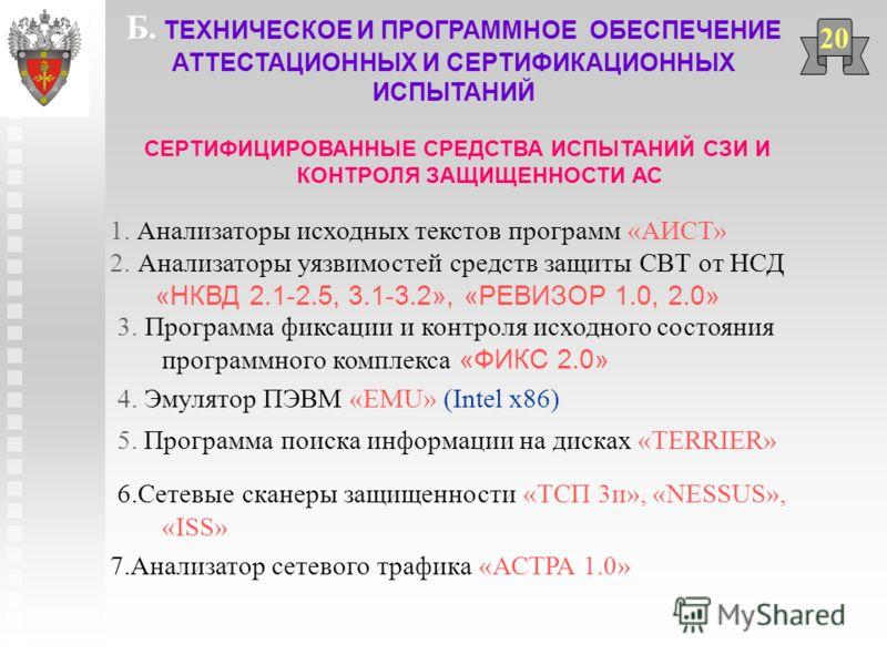 СЕРТИФИЦИРОВАННЫЕ СРЕДСТВА ИСПЫТАНИЙ СЗИ И КОНТРОЛЯ ЗАЩИЩЕННОСТИ АС 20 1. Анализаторы исходных текстов программ «АИСТ» 2. Анализаторы уязвимостей средств защиты СВТ от НСД «НКВД 2.1-2.5, 3.1-3.2», «РЕВИЗОР 1.0, 2.0» 3. Программа фиксации и контроля и