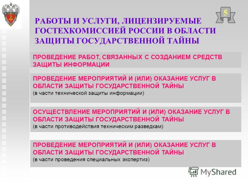 РАБОТЫ И УСЛУГИ, ЛИЦЕНЗИРУЕМЫЕ ГОСТЕХКОМИССИЕЙ РОССИИ В ОБЛАСТИ ЗАЩИТЫ ГОСУДАРСТВЕННОЙ ТАЙНЫ 5 ПРОВЕДЕНИЕ МЕРОПРИЯТИЙ И (ИЛИ) ОКАЗАНИЕ УСЛУГ В ОБЛАСТИ ЗАЩИТЫ ГОСУДАРСТВЕННОЙ ТАЙНЫ (в части проведения специальных экспертиз) ПРОВЕДЕНИЕ РАБОТ, СВЯЗАННЫХ