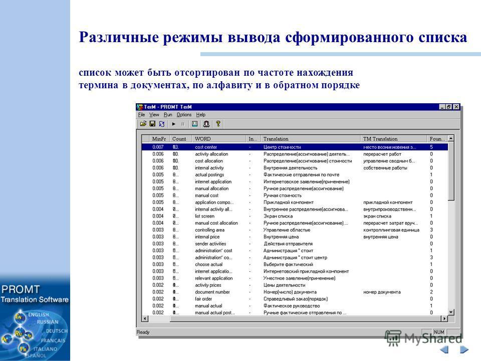 Различные режимы вывода сформированного списка список может быть отсортирован по частоте нахождения термина в документах, по алфавиту и в обратном порядке