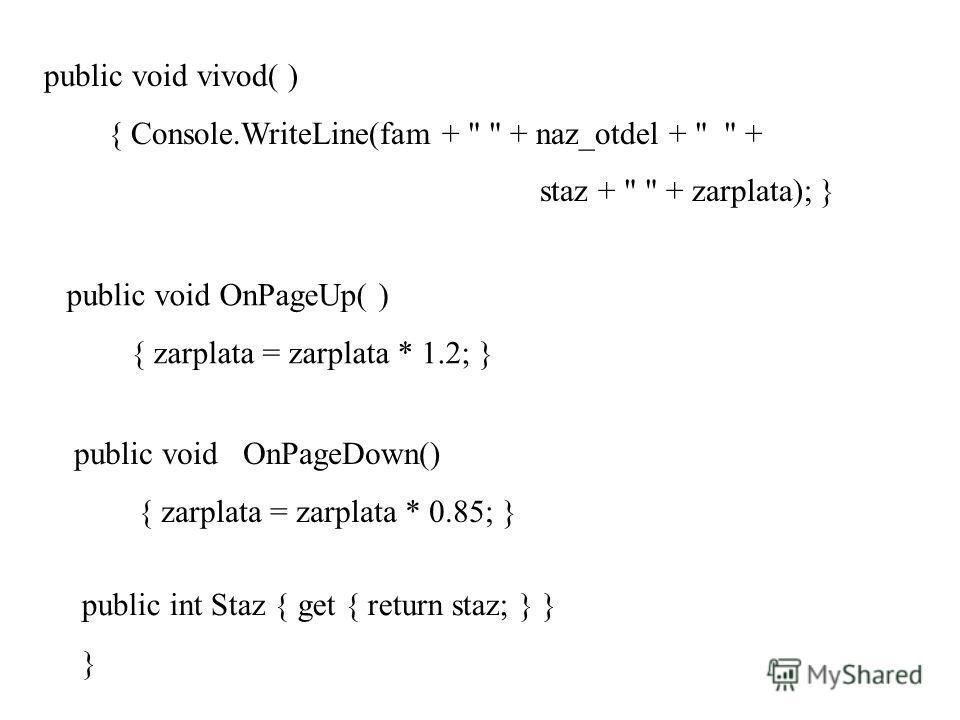 public void vivod( ) { Console.WriteLine(fam +
