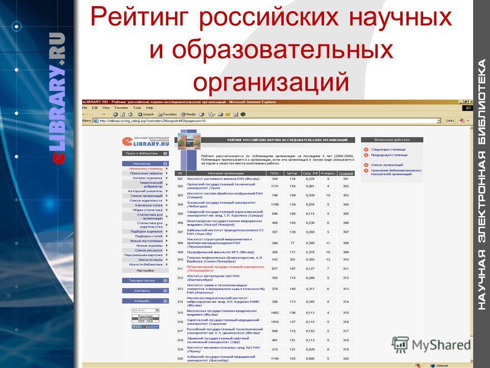 Рейтинг российских научных и образовательных организаций
