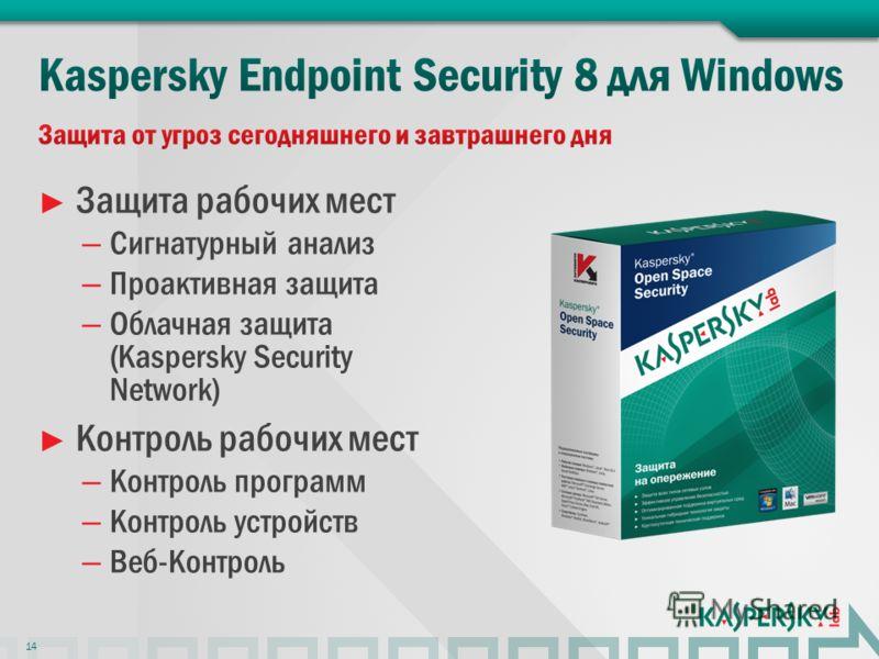 Защита рабочих мест – Сигнатурный анализ – Проактивная защита – Облачная защита (Kaspersky Security Network) Контроль рабочих мест – Контроль программ – Контроль устройств – Веб-Контроль 14