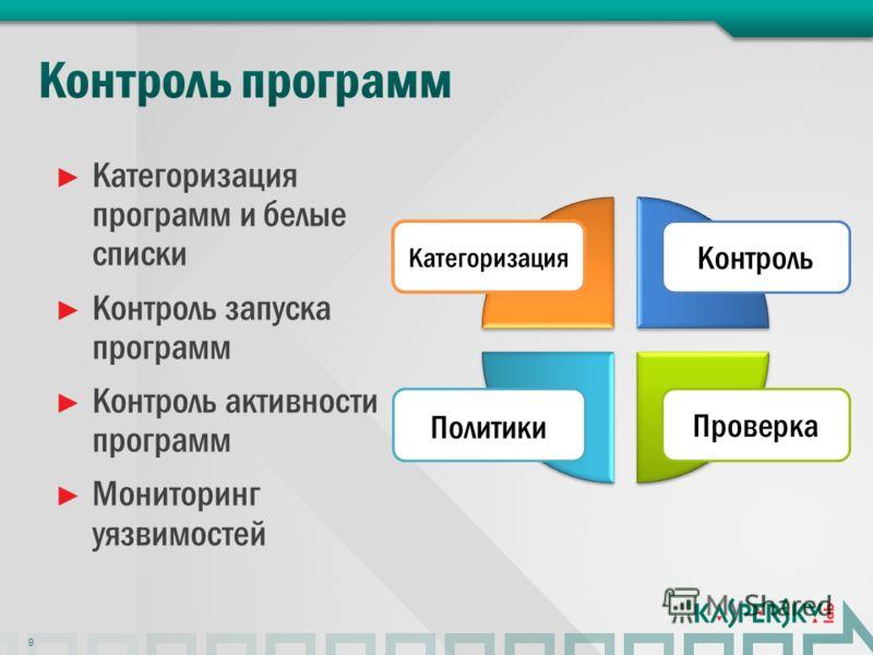 Категоризация программ и белые списки Контроль запуска программ Контроль активности программ Мониторинг уязвимостей 9 Контроль Категоризация Проверка Политики
