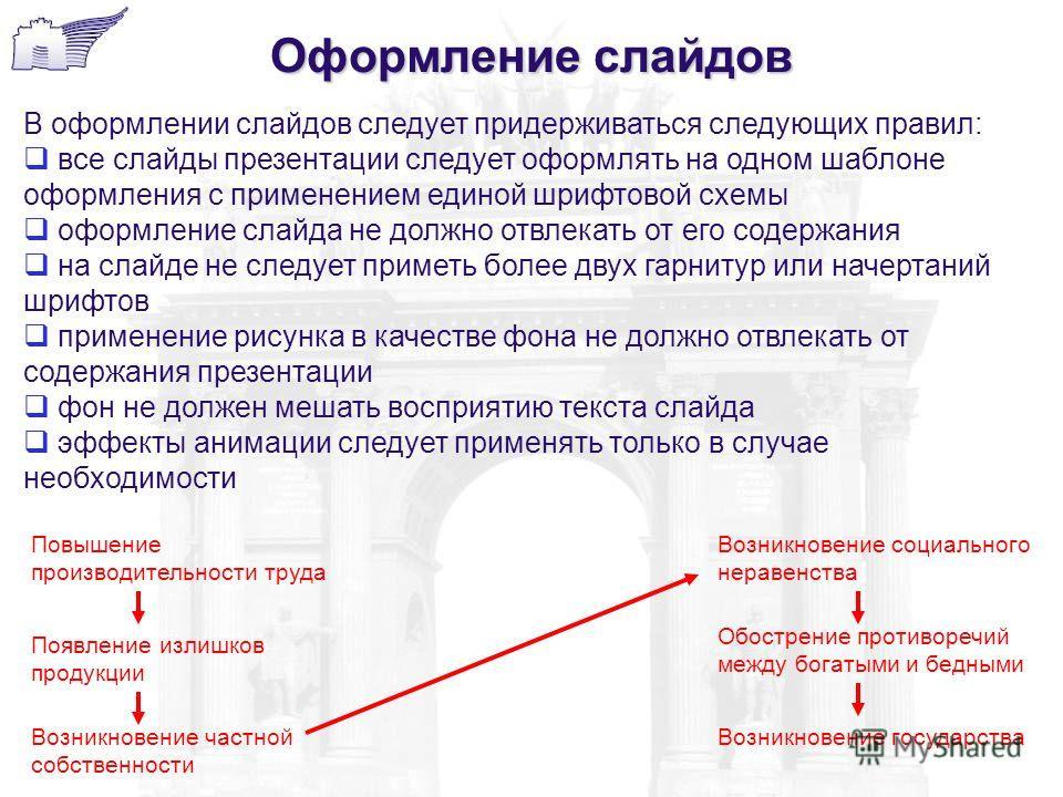 Оформление слайдов В оформлении слайдов следует придерживаться следующих правил: все слайды презентации следует оформлять на одном шаблоне оформления с применением единой шрифтовой схемы оформление слайда не должно отвлекать от его содержания на слай