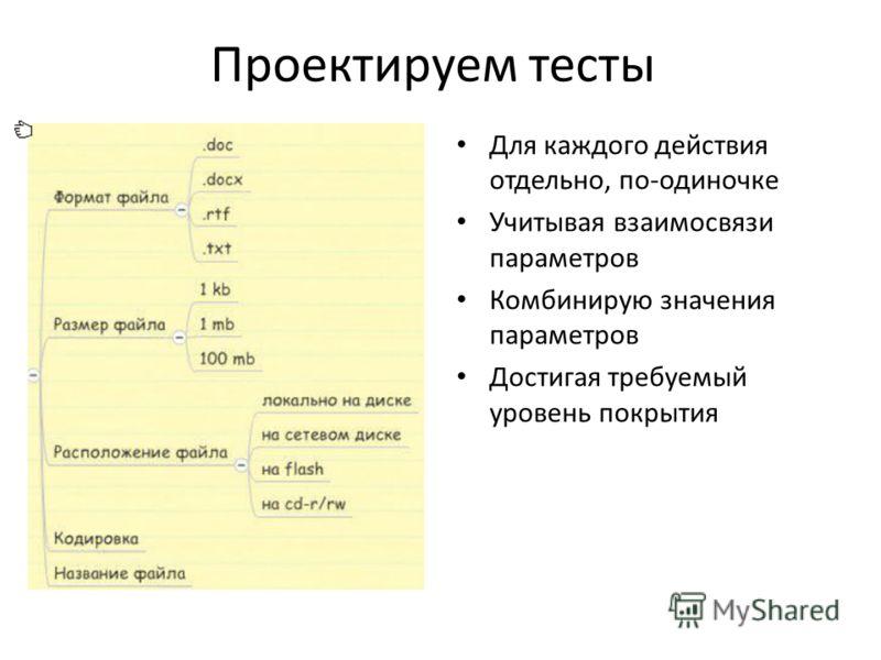 Проектируем тесты Для каждого действия отдельно, по-одиночке Учитывая взаимосвязи параметров Комбинирую значения параметров Достигая требуемый уровень покрытия