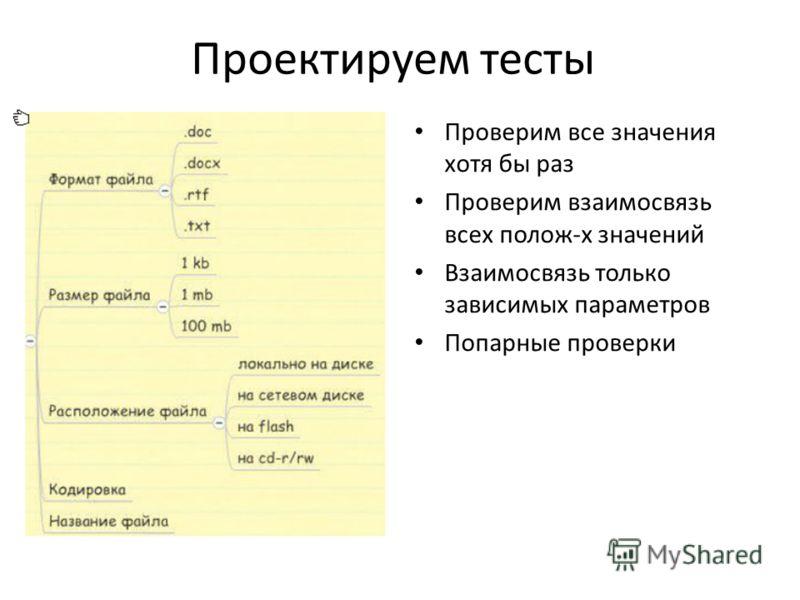 Проектируем тесты Проверим все значения хотя бы раз Проверим взаимосвязь всех полож-х значений Взаимосвязь только зависимых параметров Попарные проверки