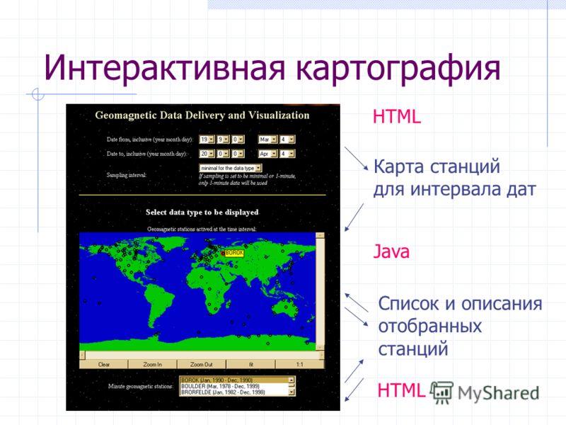 Интерактивная картография Карта станций для интервала дат Список и описания отобранных станций Java HTML