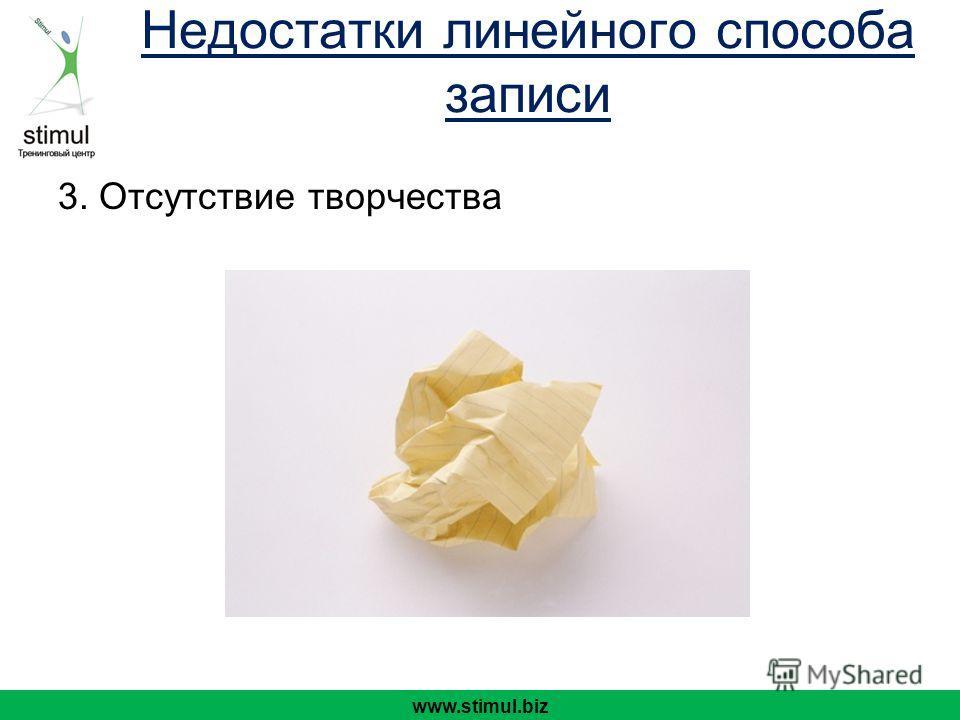 3. Отсутствие творчества www.stimul.biz Недостатки линейного способа записи