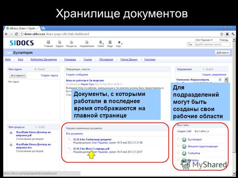 Хранилище документов Документы, с которыми работали в последнее время отображаются на главной странице Для подразделений могут быть созданы свои рабочие области