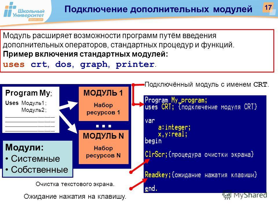 Модуль расширяет возможности программ путём введения дополнительных операторов, стандартных процедур и функций. Пример включения стандартных модулей: uses crt, dos, graph, printer. Очистка текстового экрана. Ожидание нажатия на клавишу. Подключённый