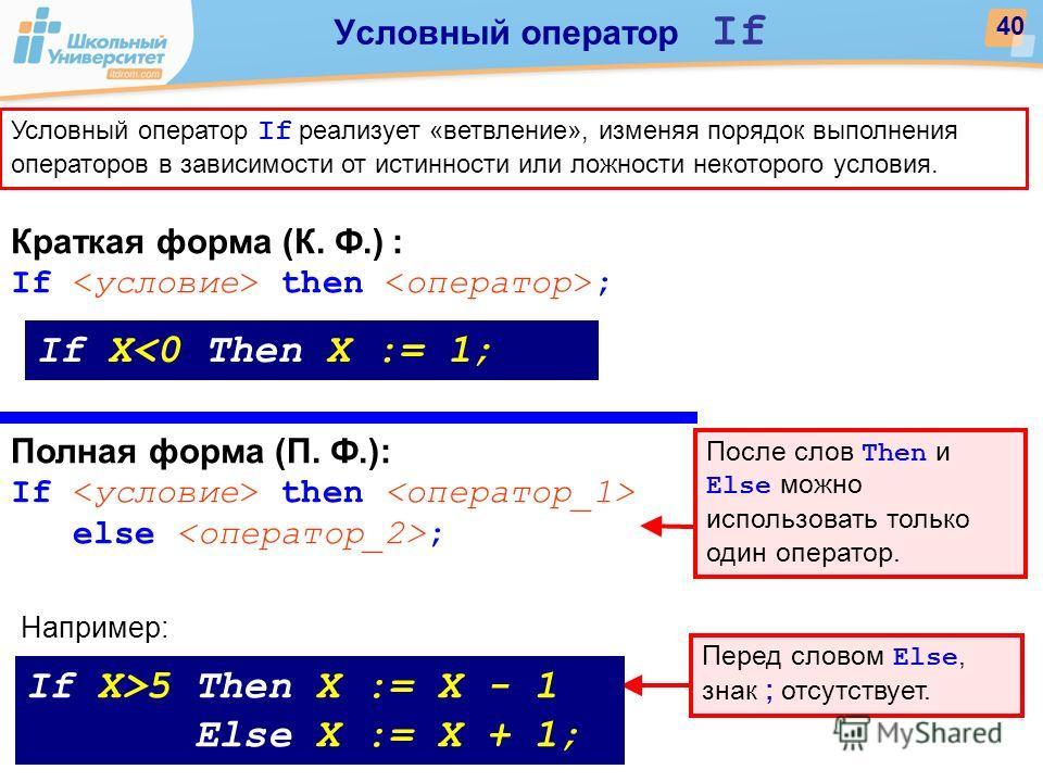 Краткая форма (К. Ф.) : If then ; Полная форма (П. Ф.): If then else ; If X5 Then X := X - 1 Else X := X + 1; Например: После слов Then и Else можно использовать только один оператор. Перед словом Else, знак ; отсутствует. 40 Условный оператор If Усл