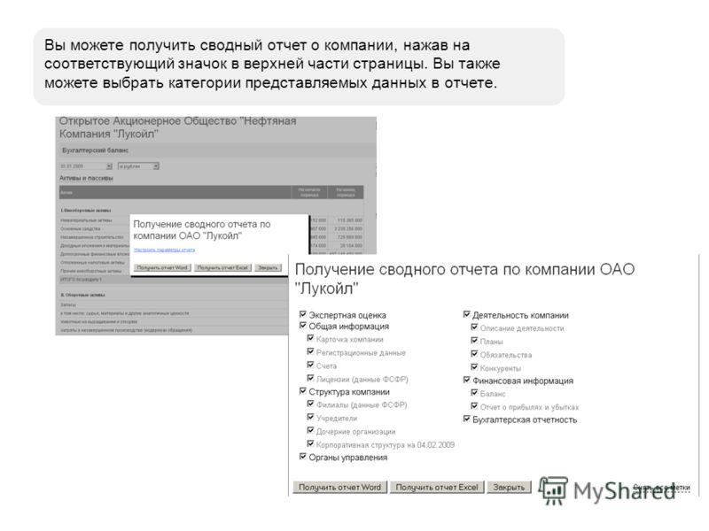 Вы можете получить сводный отчет о компании, нажав на соответствующий значок в верхней части страницы. Вы также можете выбрать категории представляемых данных в отчете.