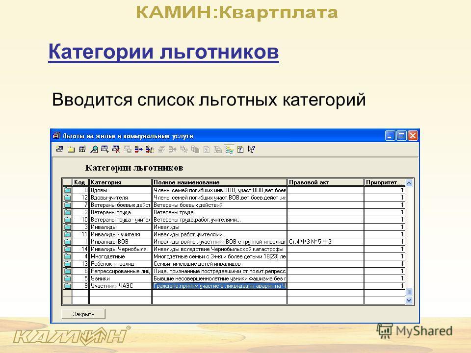 Категории льготников Вводится список льготных категорий