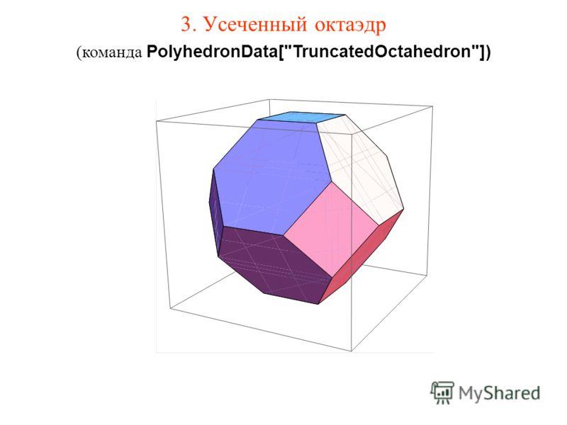 3. Усеченный октаэдр (команда PolyhedronData[TruncatedOctahedron])