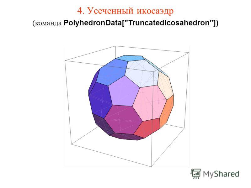 4. Усеченный икосаэдр (команда PolyhedronData[TruncatedIcosahedron])