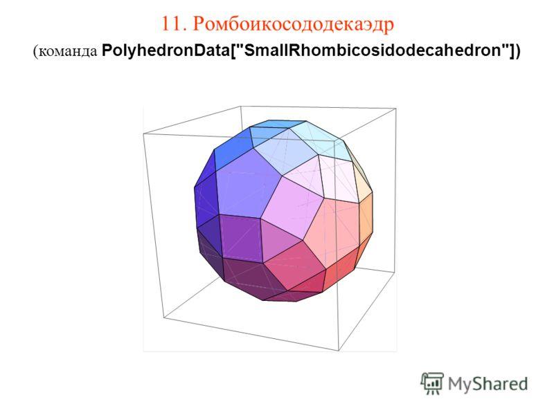 11. Ромбоикосододекаэдр (команда PolyhedronData[SmallRhombicosidodecahedron])