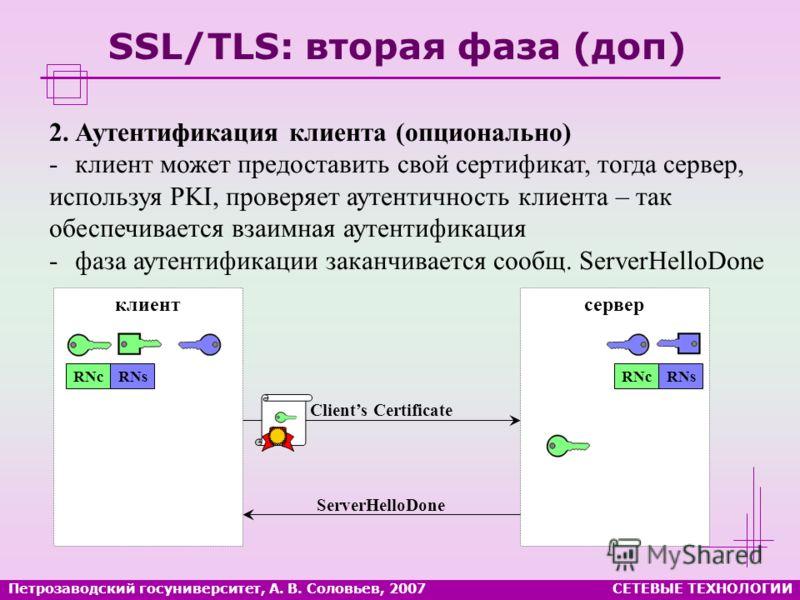 серверклиент Петрозаводский госуниверситет, А. В. Соловьев, 2007СЕТЕВЫЕ ТЕХНОЛОГИИ SSL/TLS: вторая фаза (доп) 2.Аутентификация клиента (опционально) -клиент может предоставить свой сертификат, тогда сервер, используя PKI, проверяет аутентичность клие