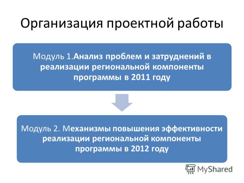 Организация проектной работы Модуль 1.Анализ проблем и затруднений в реализации региональной компоненты программы в 2011 году Модуль 2. Механизмы повышения эффективности реализации региональной компоненты программы в 2012 году
