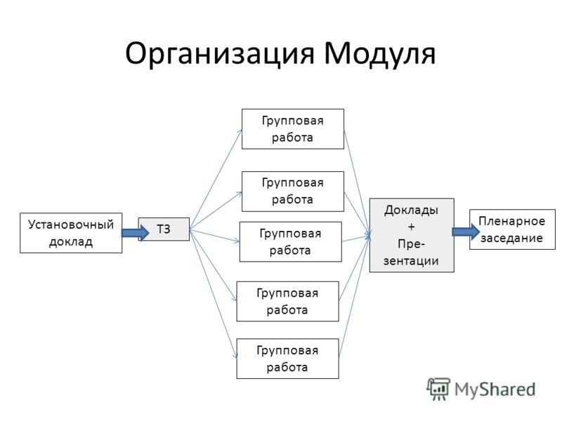 Организация Модуля ТЗ Групповая работа Доклады + Пре- зентации Установочный доклад Пленарное заседание