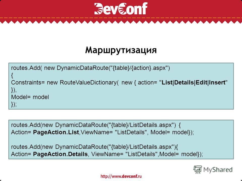 Маршрутизация routes.Add( new DynamicDataRoute(