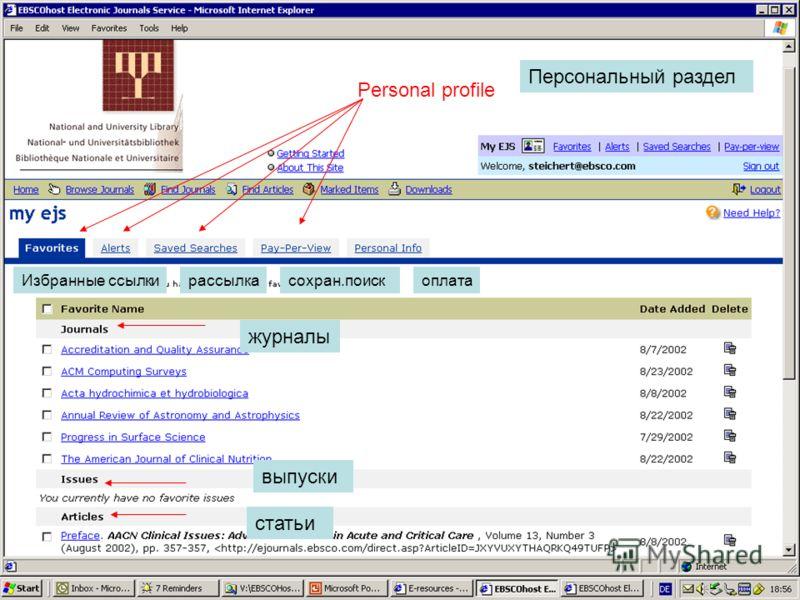 9 Personal Profiles Personal profile Персональный раздел Избранные ссылкирассылкасохран.поископлата журналы выпуски статьи