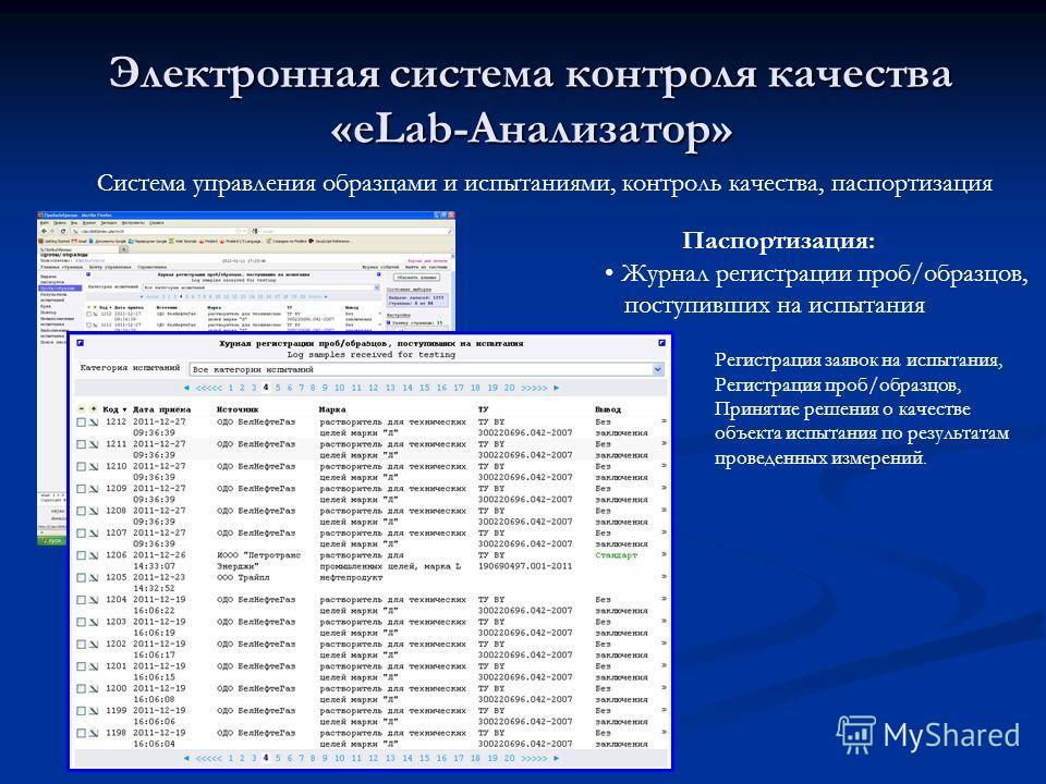 Электронная система контроля качества «eLab-Анализатор» Система управления образцами и испытаниями, контроль качества, паспортизация Журнал регистрации проб/образцов, поступивших на испытания Паспортизация: Регистрация заявок на испытания, Регистраци
