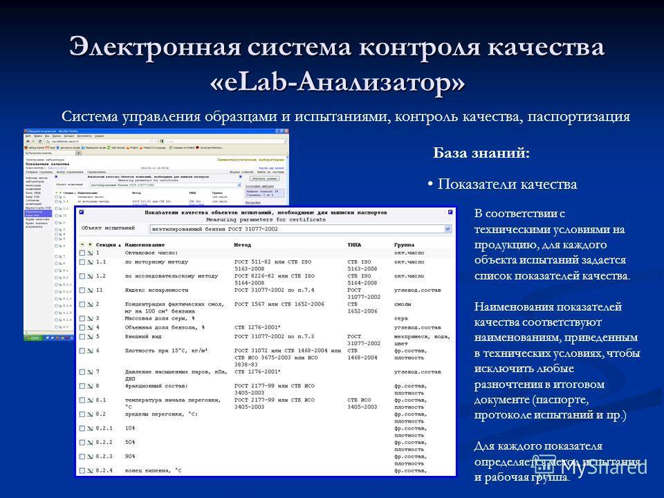 Электронная система контроля качества «eLab-Анализатор» Система управления образцами и испытаниями, контроль качества, паспортизация Показатели качества База знаний: В соответствии с техническими условиями на продукцию, для каждого объекта испытаний
