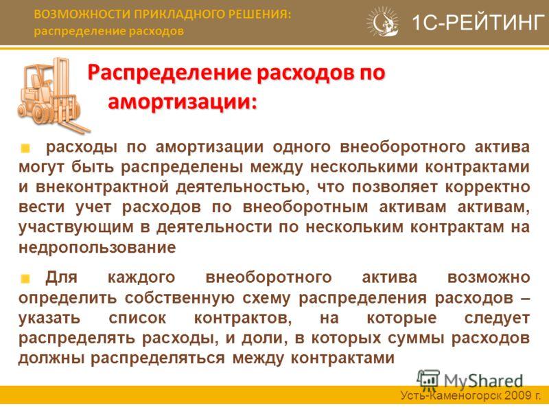 Распределение расходов по амортизации: Усть-Каменогорск 2009 г. расходы по амортизации одного внеоборотного актива могут быть распределены между несколькими контрактами и внеконтрактной деятельностью, что позволяет корректно вести учет расходов по вн