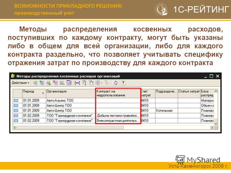 ВОЗМОЖНОСТИ ПРИКЛАДНОГО РЕШЕНИЯ: производственный учет Усть-Каменогорск 2009 г. Методы распределения косвенных расходов, поступивших по каждому контракту, могут быть указаны либо в общем для всей организации, либо для каждого контракта раздельно, что