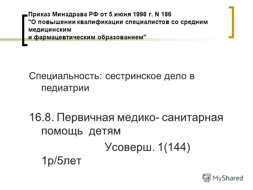Приказ Минздрава РФ от 5 июня 1998 г. N 186