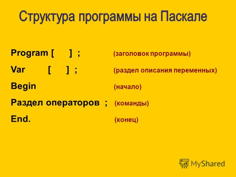 Program [ ] ; (заголовок программы) Var [ ] ; (раздел описания переменных) Begin (начало) Раздел операторов ; (команды) End. (конец)