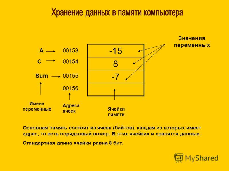 -15 8 -7 А C Sum 00153 00154 00155 00156 Имена переменных Адреса ячеек Ячейки памяти Значения переменных Основная память состоит из ячеек (байтов), каждая из которых имеет адрес, то есть порядковый номер. В этих ячейках и хранятся данные. Стандартная