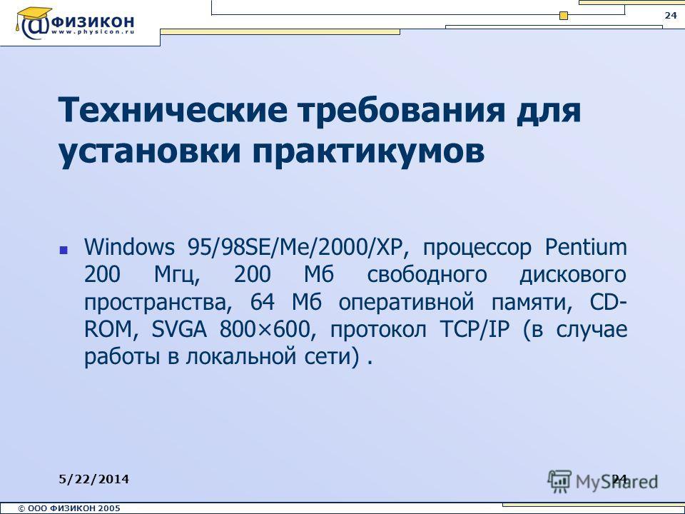 © ООО ФИЗИКОН 2002 © ООО ФИЗИКОН 2005 24 5/22/201424 Технические требования для установки практикумов Windows 95/98SE/Me/2000/XP, процессор Pentium 200 Мгц, 200 Мб свободного дискового пространства, 64 Мб оперативной памяти, CD- ROM, SVGA 800×600, пр