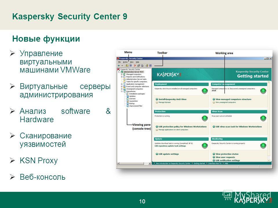 Kaspersky Security Center 9 Управление виртуальными машинами VMWare Виртуальные серверы администрирования Анализ software & Hardware Сканирование уязвимостей KSN Proxy Веб-консоль Новые функции 10