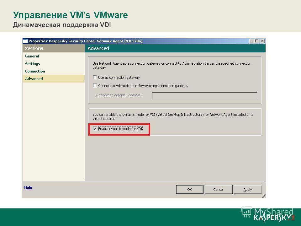 Управление VMs VMware Динамаческая поддержка VDI