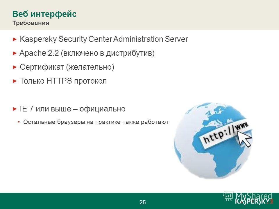 Веб интерфейс Требования Kaspersky Security Center Administration Server Apache 2.2 (включено в дистрибутив) Сертификат (желательно) Только HTTPS протокол IE 7 или выше – официально Остальные браузеры на практике также работают 25