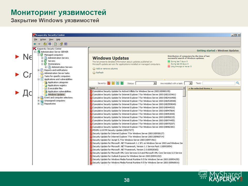 Мониторинг уязвимостей Закрытие Windows уязвимостей Network Agent собирает информацию об уязвимостях Служба Windows Update должна быть запущена Должна выполняться проверка обновлений Windows 38