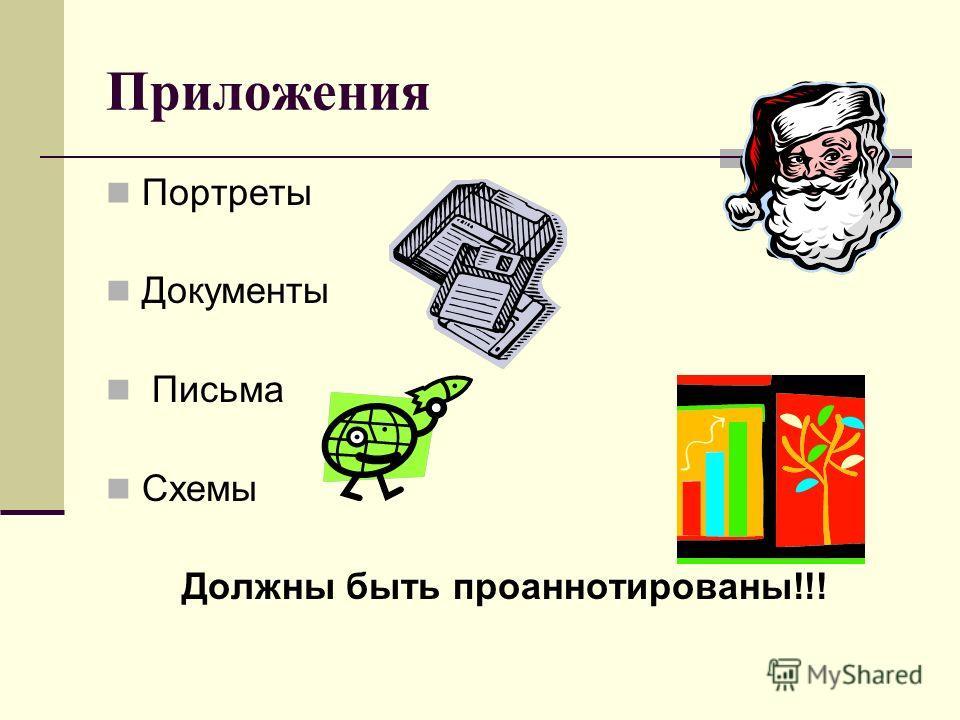 Приложения Портреты Документы Письма Схемы Должны быть проаннотированы!!!