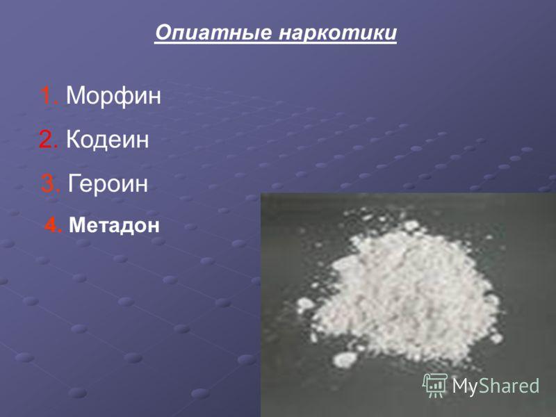 Опиатные наркотики 1. Морфин 2. Кодеин 3. Героин 4. Метадон