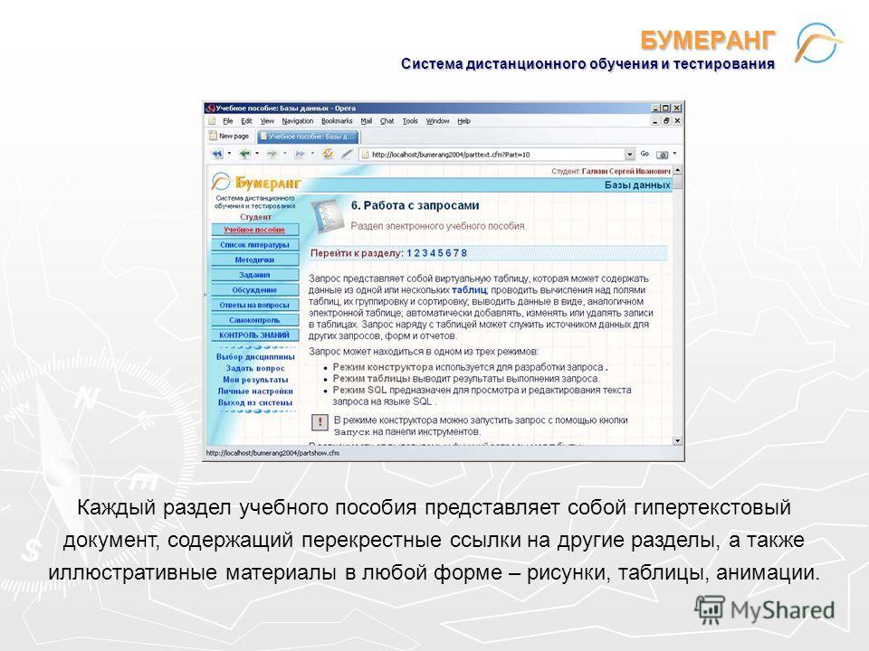 БУМЕРАНГ Система дистанционного обучения и тестирования Каждый раздел учебного пособия представляет собой гипертекстовый документ, содержащий перекрестные ссылки на другие разделы, а также иллюстративные материалы в любой форме – рисунки, таблицы, ан