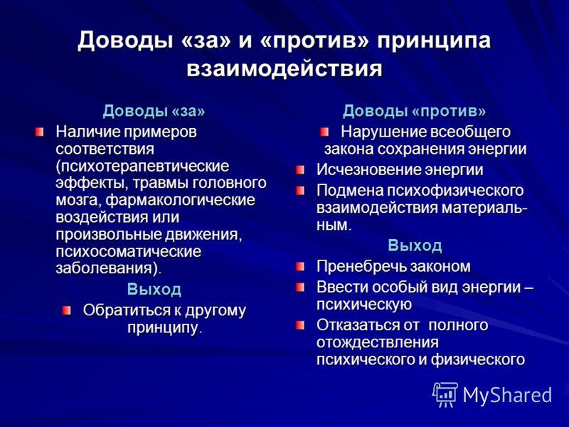 Доводы «за» и «против» принципа взаимодействия Доводы «за» Наличие примеров соответствия (психотерапевтические эффекты, травмы головного мозга, фармакологические воздействия или произвольные движения, психосоматические заболевания). Выход Обратиться