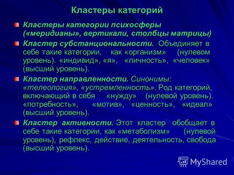 Кластеры категорий Кластеры категории психосферы («меридианы», вертикали, столбцы матрицы) Кластер субстанциональности. Объединяет в себе такие категории, как «организм» (нулевом уровень). «индивид», «я», «личность», «человек» (высший уровень). Класт
