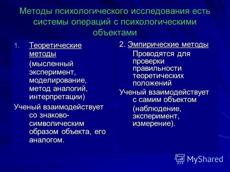 Методы психологического исследования есть системы операций с психологическими объектами 1. Теоретические методы (мысленный эксперимент, моделирование, метод аналогий, интерпретации) (мысленный эксперимент, моделирование, метод аналогий, интерпретации