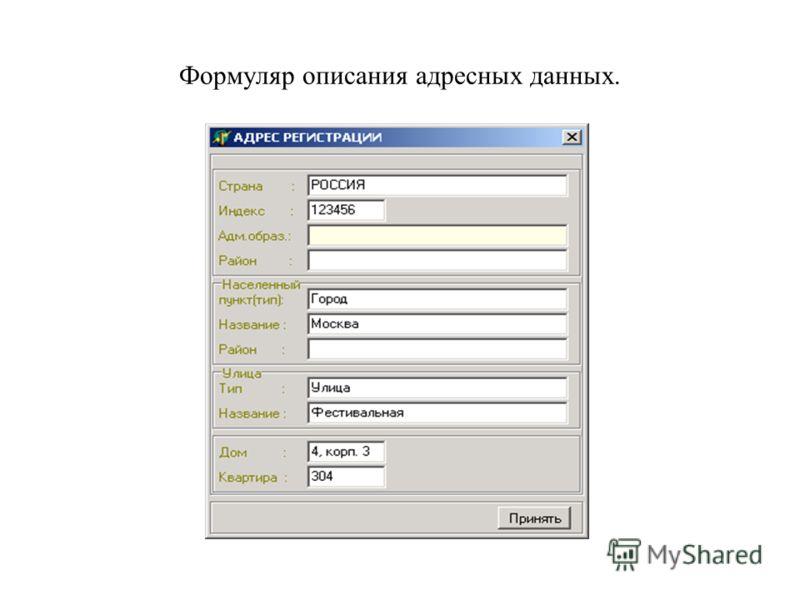 Формуляр описания адресных данных.