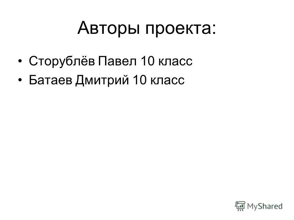 Авторы проекта: Сторублёв Павел 10 класс Батаев Дмитрий 10 класс