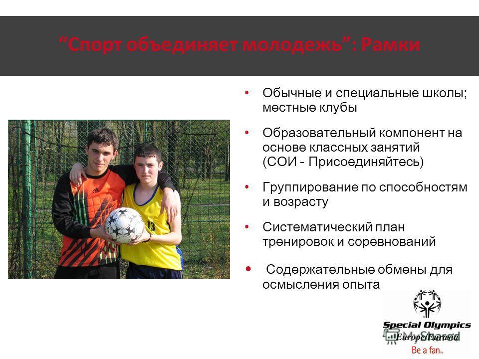Спорт объединяет молодежь: Рамки Обычные и специальные школы; местные клубы Образовательный компонент на основе классных занятий (СОИ - Присоединяйтесь) Группирование по способностям и возрасту Систематический план тренировок и соревнований Содержате