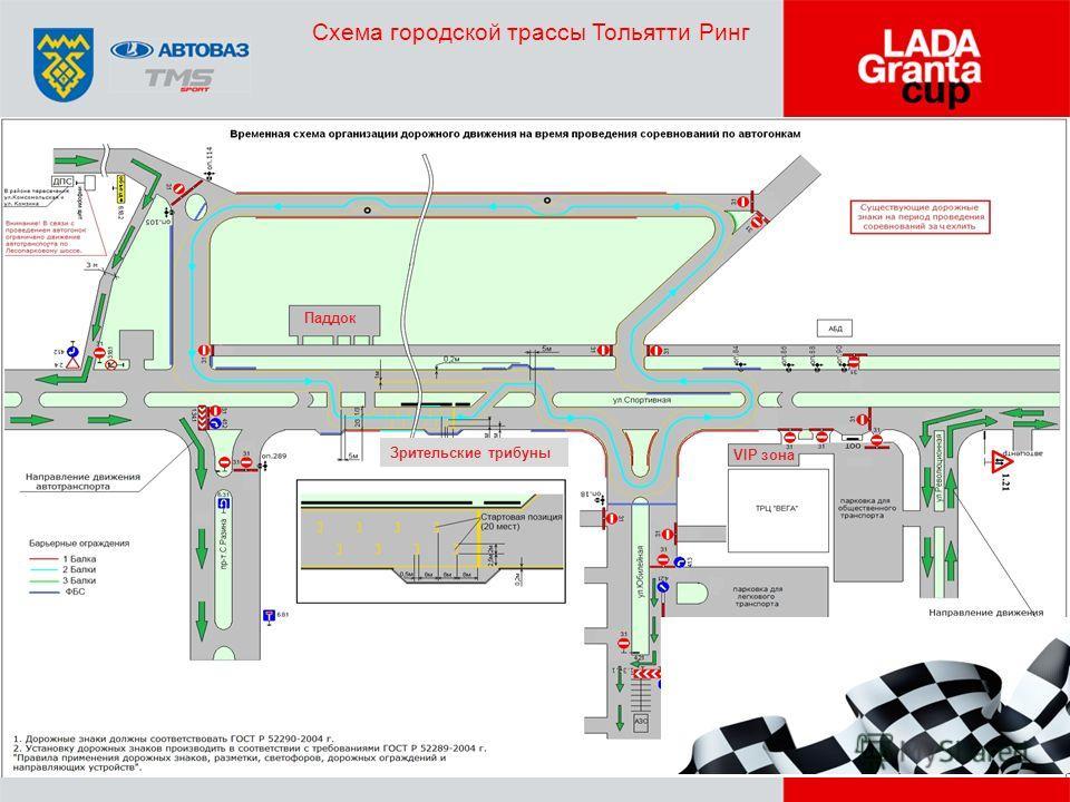 Схема городской трассы Тольятти Ринг Паддок VIP зона Зрительские трибуны