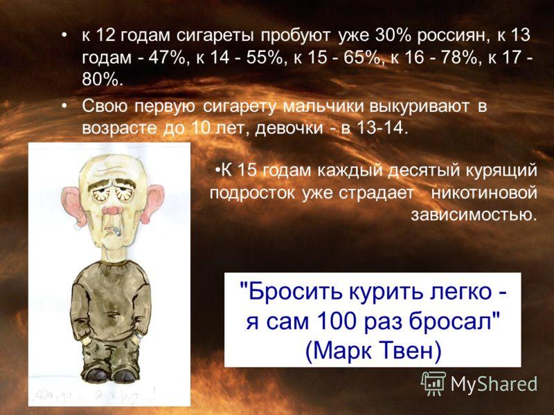 к 12 годам сигареты пробуют уже 30% россиян, к 13 годам - 47%, к 14 - 55%, к 15 - 65%, к 16 - 78%, к 17 - 80%. Свою первую сигарету мальчики выкуривают в возрасте до 10 лет, девочки - в 13-14.