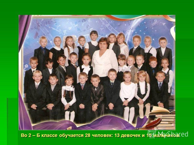 НАШ КЛАСС Во 2 – Б классе обучается 28 человек: 13 девочек и 15 мальчиков.