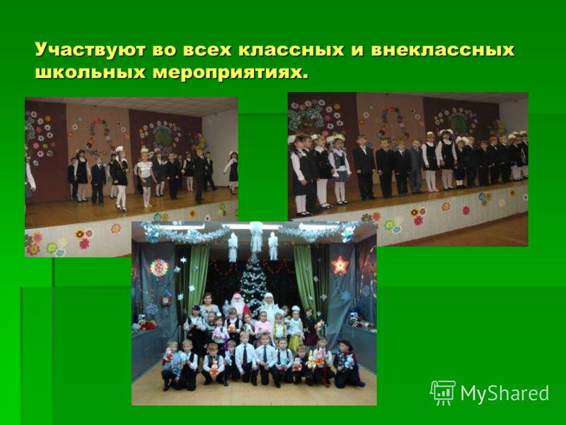 Участвуют во всех классных и внеклассных школьных мероприятиях.